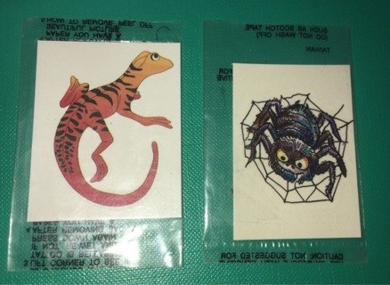 Set of 2 Lizard / Spider Temporary Tattoos
