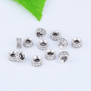 50PCs Antique Silver Round Ring Charm Spacer Charms Beads Jewelry Finding 6x3mm