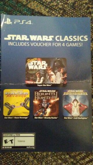 Star Wars Classics - Includes Voucher For 4 Star Wars Games (PlayStation 4, Digital Code Only)