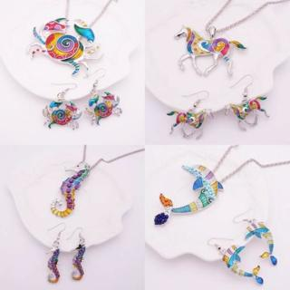 [GIN FOR FREE SHIPPING] Gothic Enamel Crab Horse Dolphin Seahorse Jewelry Set Gold Silver