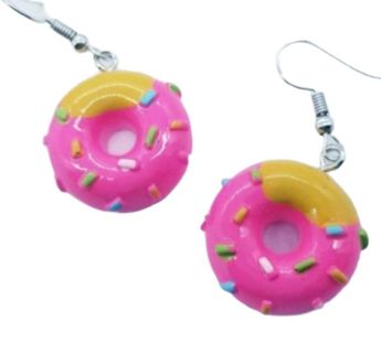 Pink donuts drop earrings hilarious New