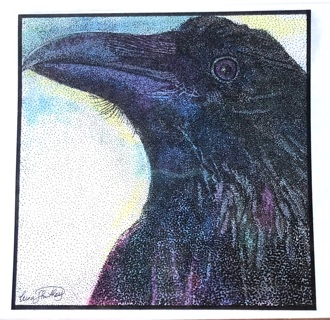 """RAVEN - 5 x 7"""" art card by artist Nina Struthers - GIN ONLY"""