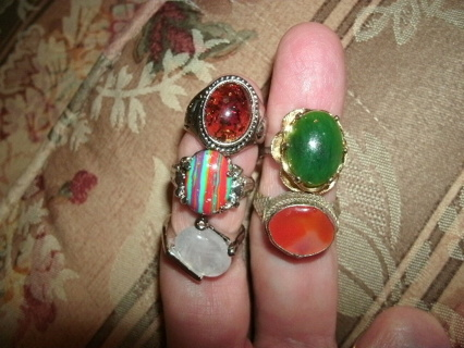 Lot of 5 RINGS with stones