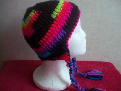 Crocheted Neon Ombre Earflap Girl's Hat