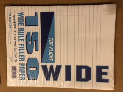 BNIP 1 Pack of Wide Ruled, 150 Sheet; Binder Ready Filler Paper.  150 Sheets