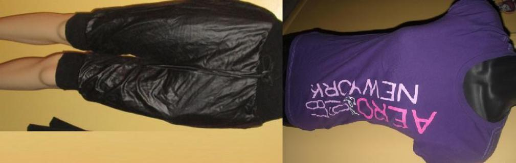 Awesome Outfit! Pleather Cropped Pants & Purple AEROPOSTLE Tee top Shirt- Ladies SM GLAM FASHION!!!!