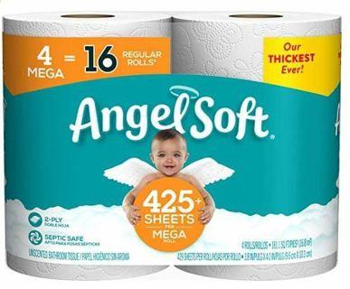 BID TO WIN - ANGEL SOFT TOLIET PAPER 4 MEGA ROLLS = 16 REGULAR ROLLS ❣