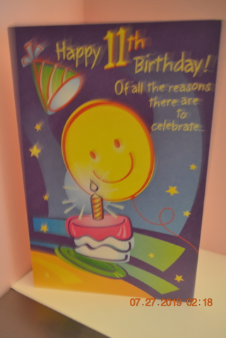 ****LARGE CHILD TURNING 11 YRS OLD BIRTHDAY CARD W/ENVELOPE***FREE SHIPPING