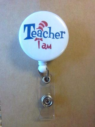 NEW - TEACHER I AM - Cute Red/White Hat - Retractable Reel ID Badge Holder