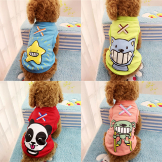 Spring Summer Pet Dog Cat Clothes Cartoon Vest Coat Small Puppy Costumes T Shirt