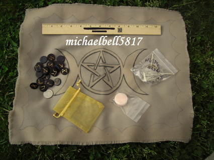 ***Reduced GIN!!***Hand Made Rune Set + Altar Cloth (With White Sage for Smudging/Cleansing)!!!