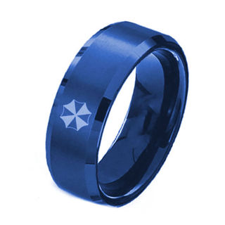8mm Men S Half Umbrella Resident Evil Stainless Steel Band Ring Blue Size10