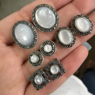 8 Pcs/set Bohemian Retro Gem Hollow Round Opal Geometric Silver Earrings Set Simple Fashion Wedding