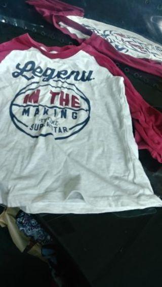 Carter- Boys size 5- Burgundy and Cream- Long sleeve T-shirt