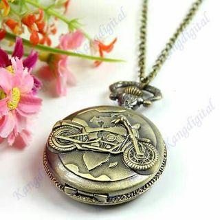 Motorcycle Motorbike Bronze Emboss Cover Necklace Pendant Pocket Watch Gift