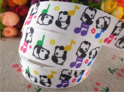 "SALE Dancing Panda Bear 7/8"" Grosgrain Ribbon 1 Yard NEW"
