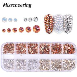 1 Box Shiny AB Mix Color Nail Rhinestones Multi-size Glass Flat Bottom DIY Manicure Tips 3D Crysta