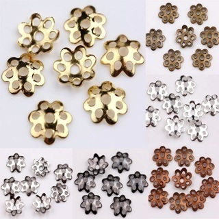 200PCs Silver Gold Plated Metal Flower Bead Caps 7mm Jewelry Findings