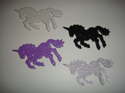♥♥ Set of 4 Little Glittery Magnetic Unicorns! ♥♥ Full Magnetic Backing!  Free US Shipping!  GIN!