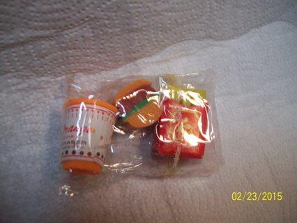 Rubber Hamburger, Orange Soda Drink & Fries Eraser-New & sealed