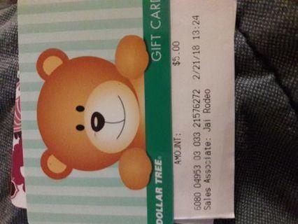**$5 Dollartree Gift Card***