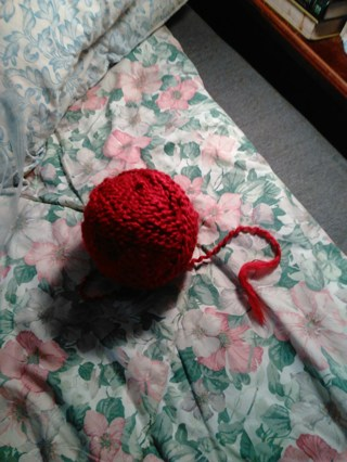 Ball of unknown brand of Red yarn