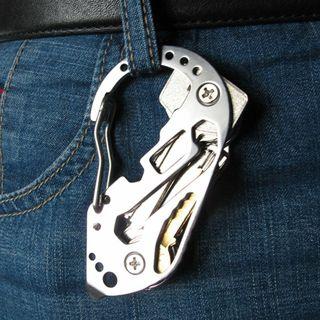 Men Multi Function Keychain Screwdriver Wrench Carabiner EDC
