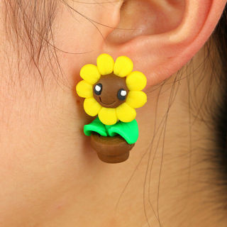 2 Pairs Women Earring 3D Sun Flower