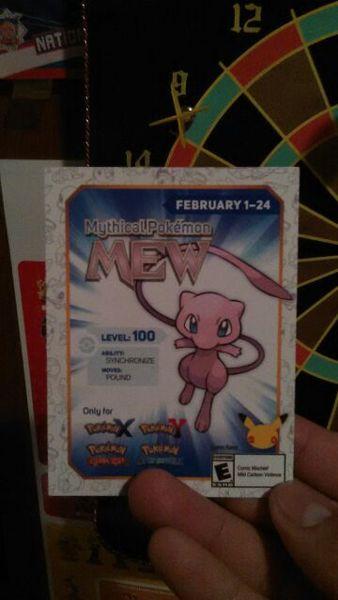 Free: Pokémon X/Y/OR/AS Mew code  - Video Game Prepaid Cards