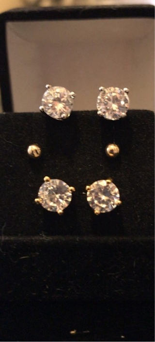 3 Pairs Solid white AND yellow GOLD earrings!!
