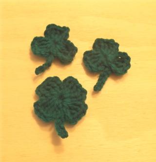Three Crochet Shamrocks - new