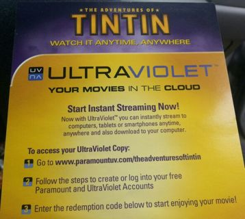 Free: The Adventures of TINTIN ultraviolet uv Vudu code