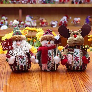 [GIN FOR FREE SHIPPING] Christmas Santa Claus Snowman Reindeer Doll Ornament Home Decor