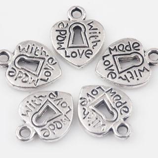 30PCs Tibetan Silver Heart Charms Pendants Jewelry Making 12x10mm