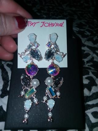 100% Authentic Betsey Johnson Linear Earrings