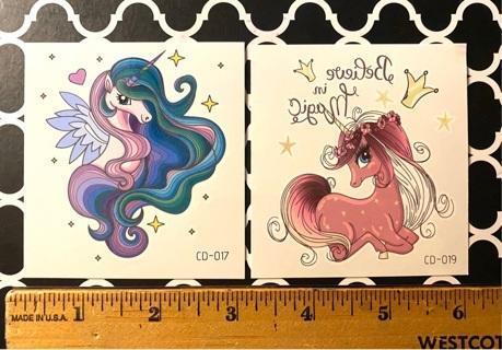 New, 2 Pretty Unicorn Tattoos