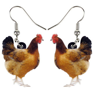 1 Pairs Acrylic Floral Chicken Hen Earring For Kid