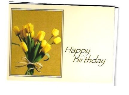 Birthday Card Unused With Envelope Flowers
