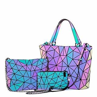 Geometric Luminous Purses and Handbags for Women Holographic Reflactive Crossbody Bag 3pcs Set