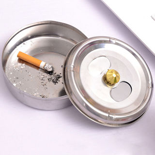 2PCs Diameter Ashtrays Soot Barrel Stainless Steel Lid Rotation Closed Off Ashtray