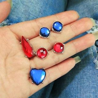 5 Pcs/set Fashion Temperament Exquisite Blue Crystal Heart Geometric Earrings Set Female Engagement