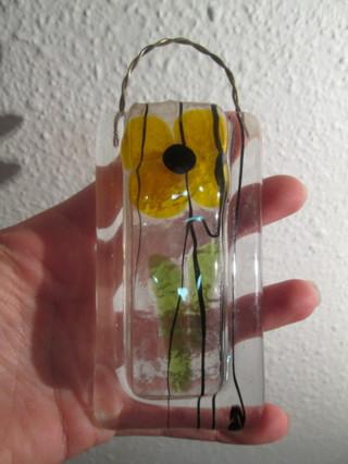 Free Contemporary Artisan Fused Art Glass Wall Pocket Vase Lattas