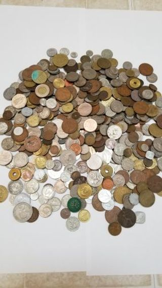 FOREIGN COIN COLLECTION OVER 5 LBS OF UNCHECKED AWESOME COINS FROM ARROUND THE WORLD $$$