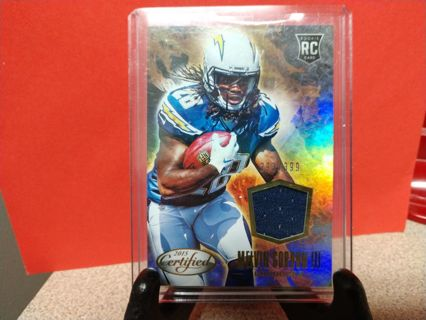 2015 CERTIFIED MELVIN GORDON lll ROOKIE RC JERSEY CARD # SS-MG num 293/399 SAN DIEGO CHARGERS