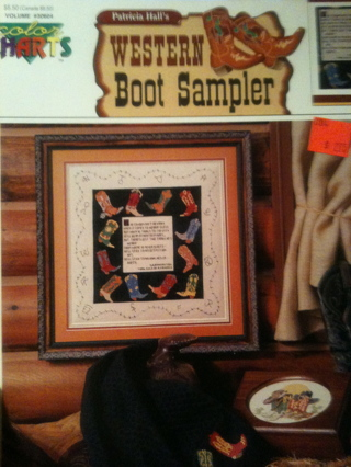 Free Counted Cross Stitch Pattern Western Cowboy Boot