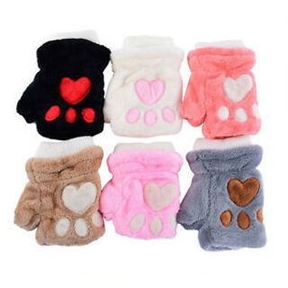 Cat Claw Paw Half Finger Plush Soft Fingerless Warm Hand Gloves Wrist Gloves