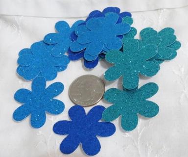 Blue Hues Large Glittery Cardstock Flower Die Cuts 24