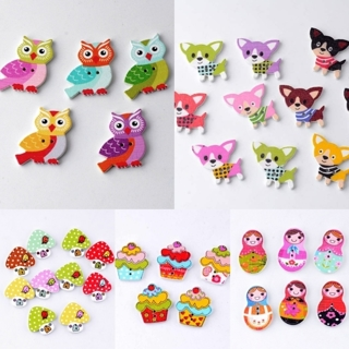 [GIN FOR FREE SHIPPING] 30Pcs 2 Holes Russian Doll Ice Cream Dog Owl Mushroom Wooden Sewing Buttons