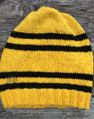 Huffellpuff inspired hand knitted Harry Potter hat