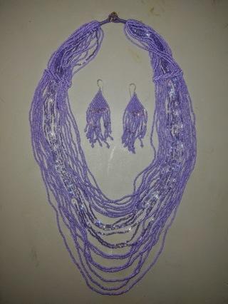 Purple Necklace Earring Bead Set